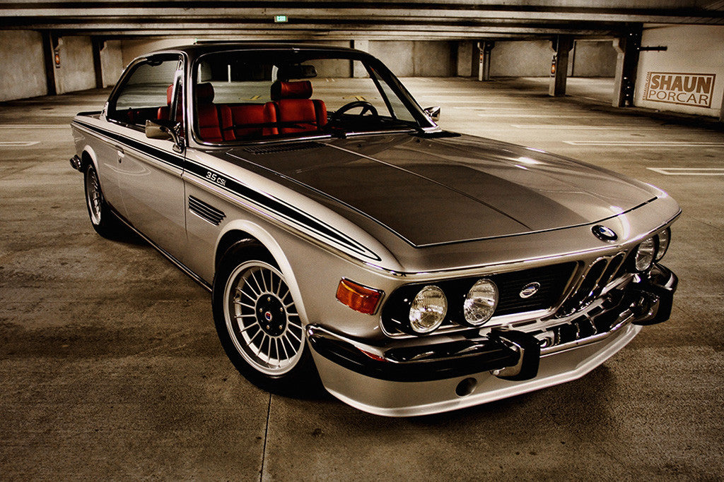 bmw e9 csl retro vintage car auto poster my hot posters. Black Bedroom Furniture Sets. Home Design Ideas