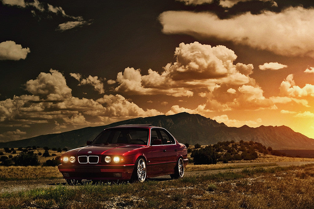 BMW 5 Series E34 M3 Old Car Auto Poster Sunset