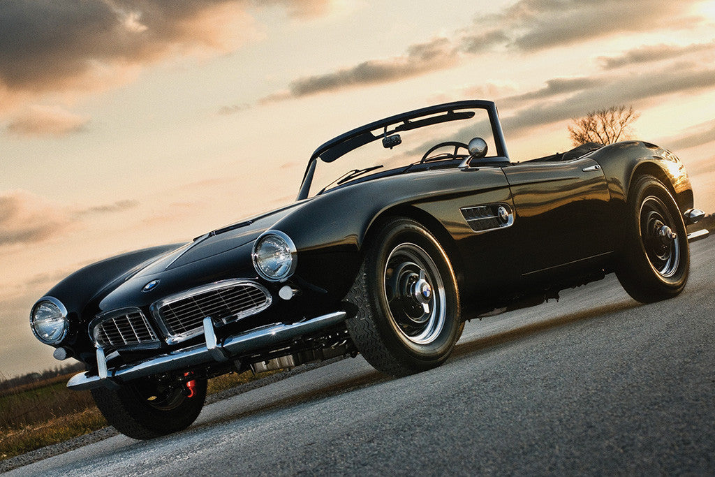 BMW 507 Retro Vintage Old Car Auto Poster Sunset