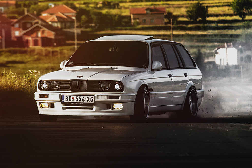Bmw E30 3 Series Wagon Drift Retro Vintage Old Car Auto Poster My Hot Posters