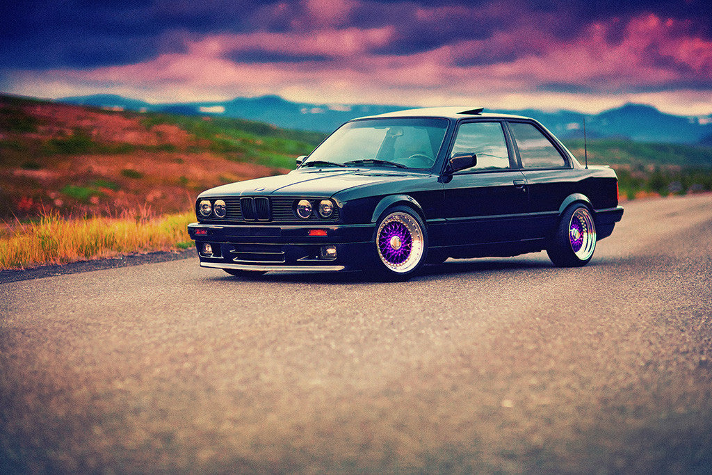 BMW E30 3 Series Tuning Retro Vintage Old Car Auto Poster