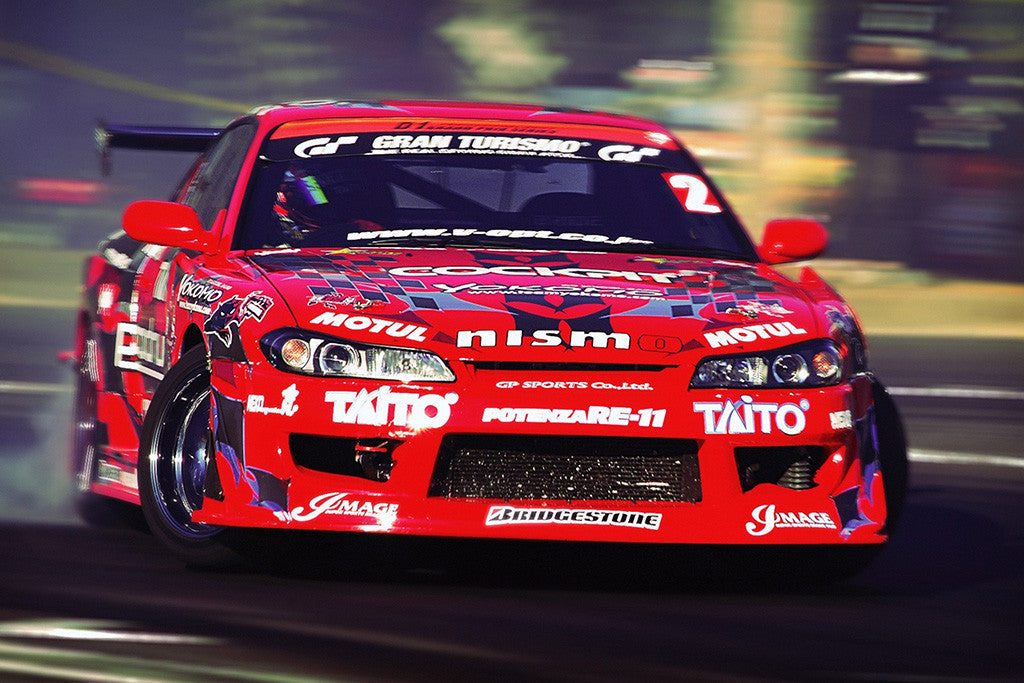 Drifting Tuning Red Car Auto Poster