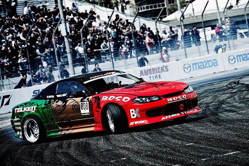Drifting Tuning Red Car Drift Auto Poster
