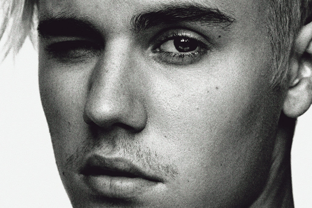 Justin bieber face close black and white poster