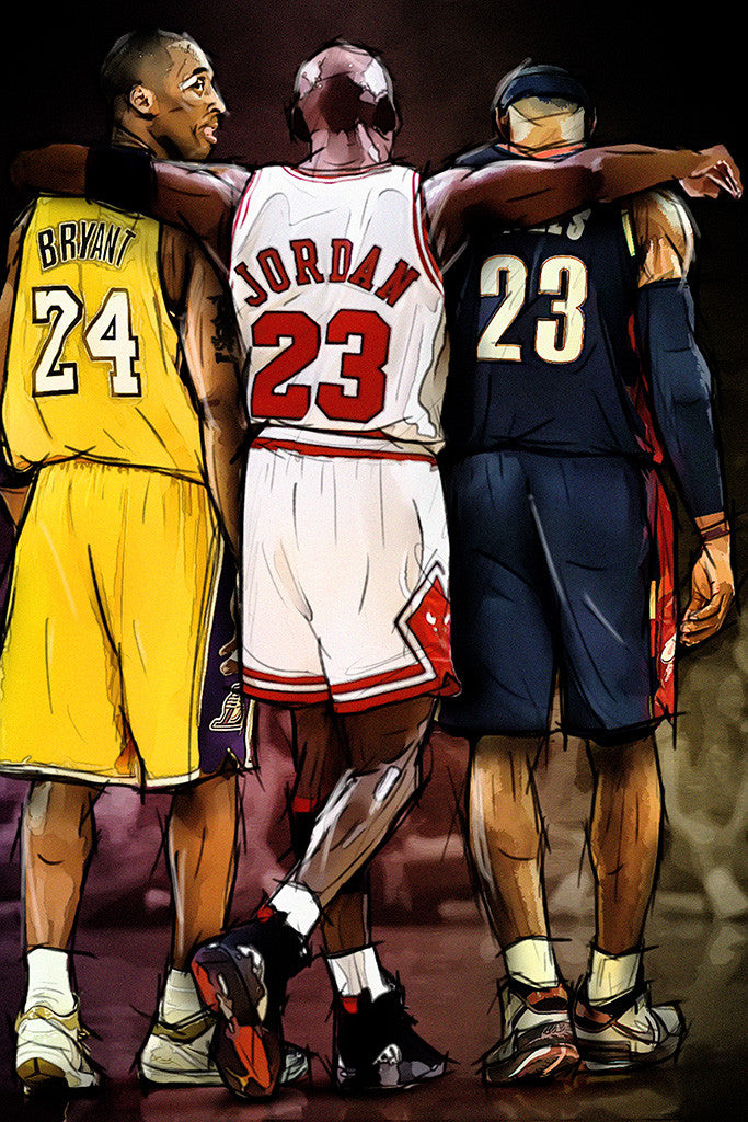 Kobe Bryant Michael Jordan LeBron James NBA Basketball Poster