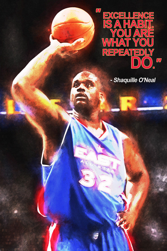 Shaquille O'Neal Quotes NBA Basketball Sayings Poster