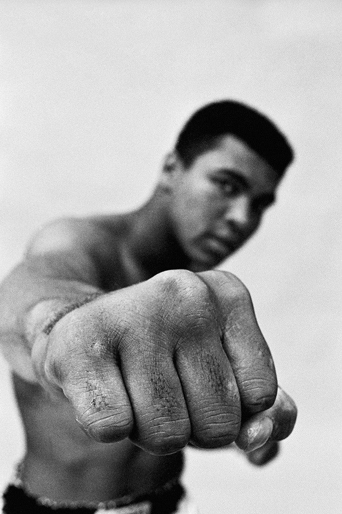 Muhammad ali fist black and white poster