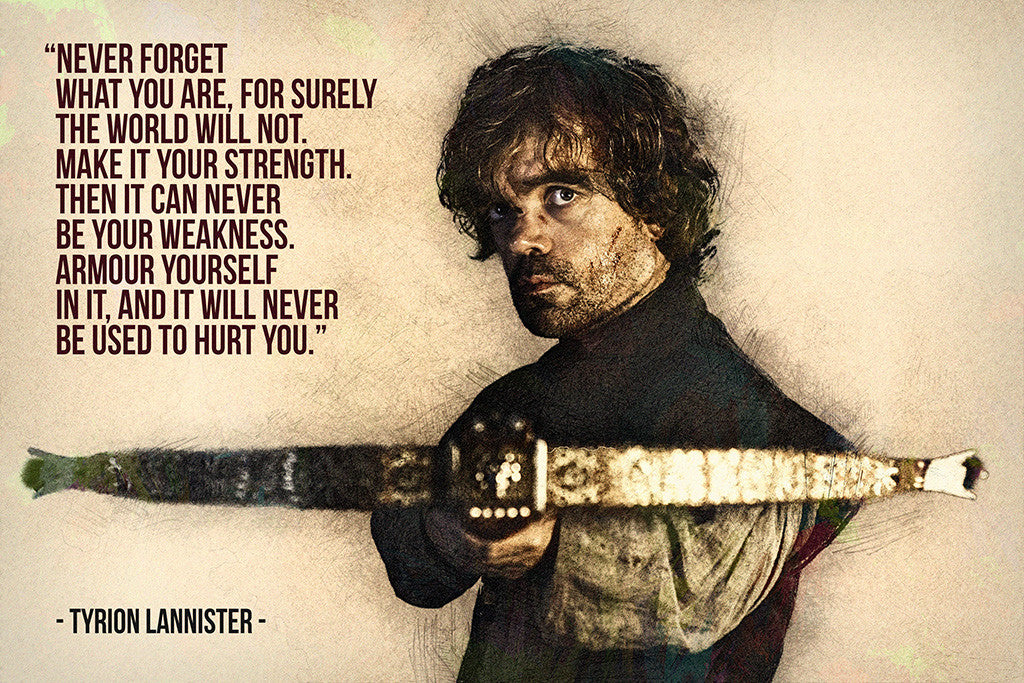 Tyrion Lannister Game of Thrones Quotes Never Forget What You Are Poster