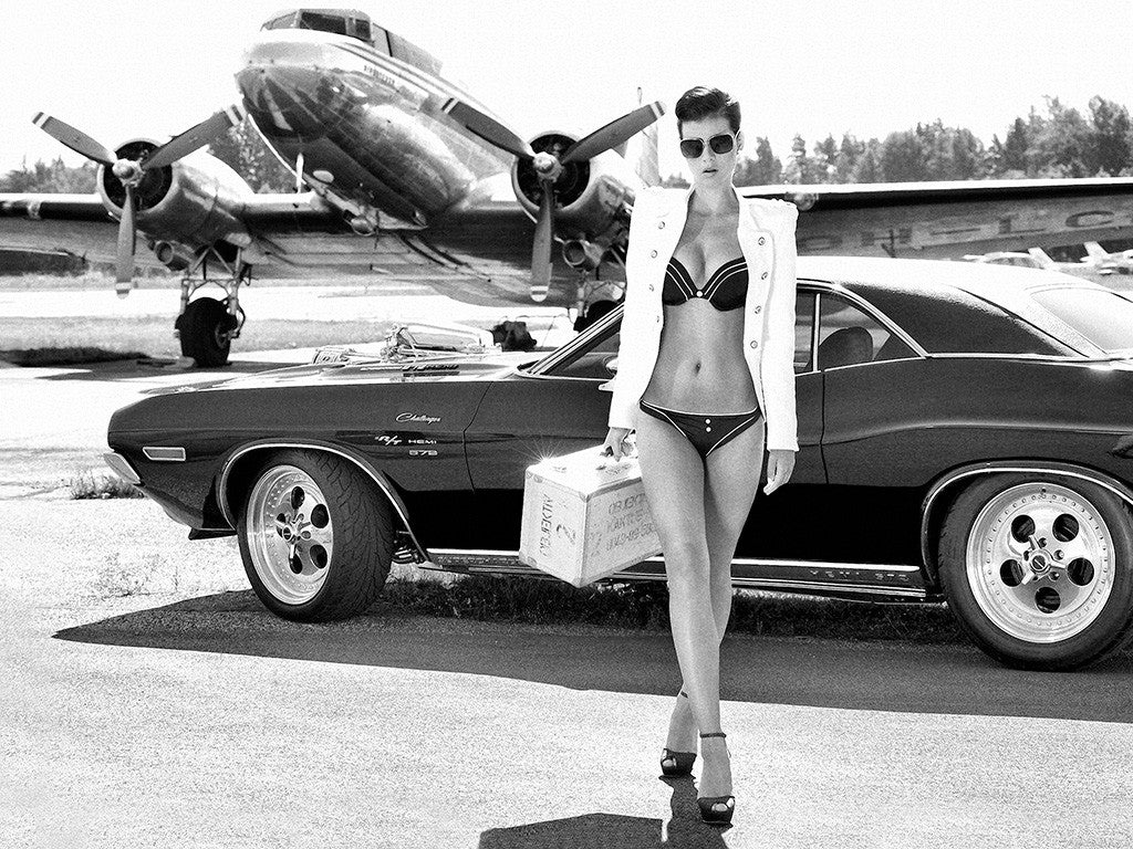 Girl Miss Tuning Dodge Challenger Muscle Retro Car B/W Poster