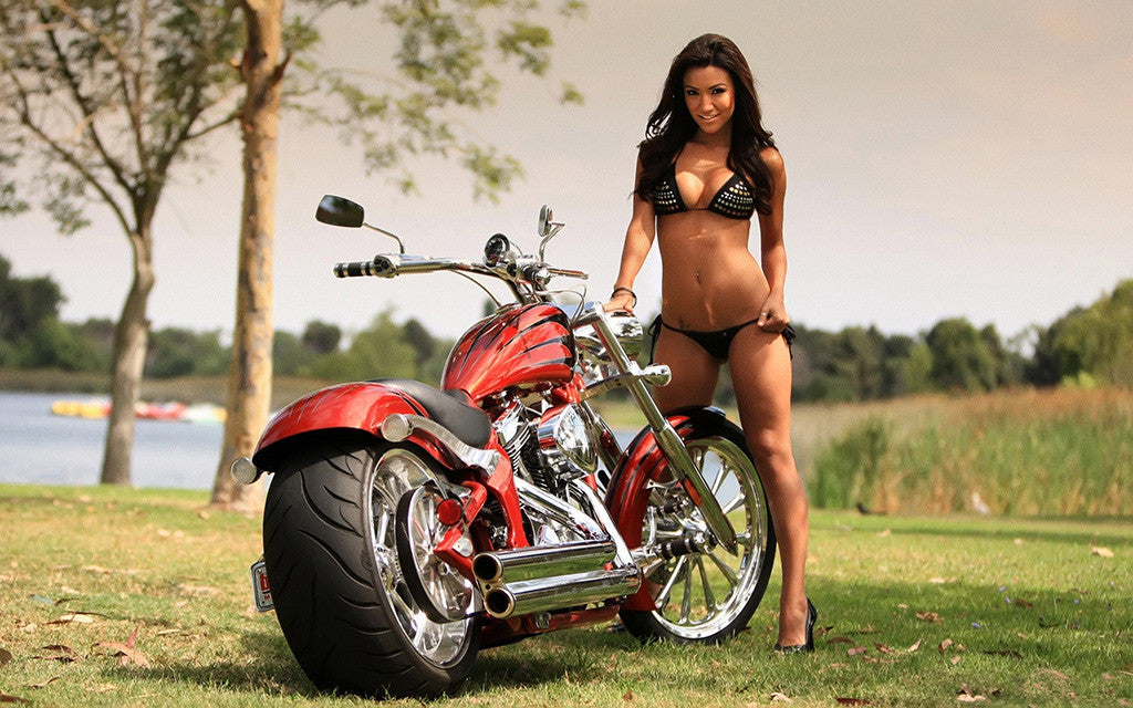 Moto Motorcycle Hot Brunette Girl Bikini Poster