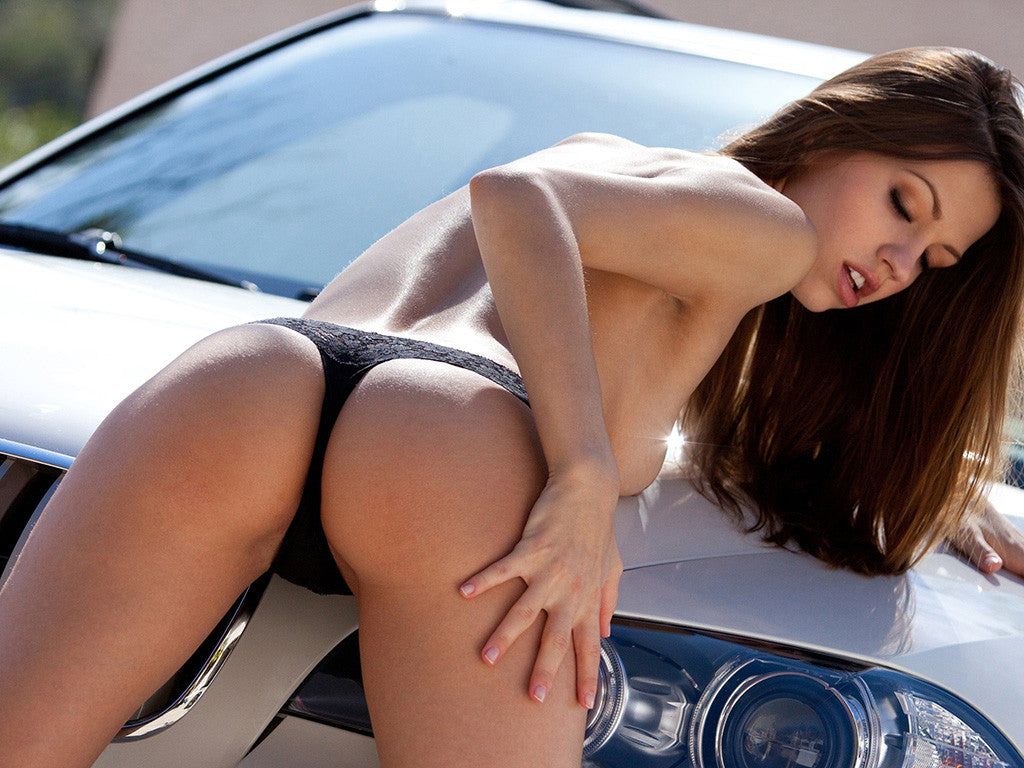 BMW Car with Sexy Brunette Girl Booty Ass Poster
