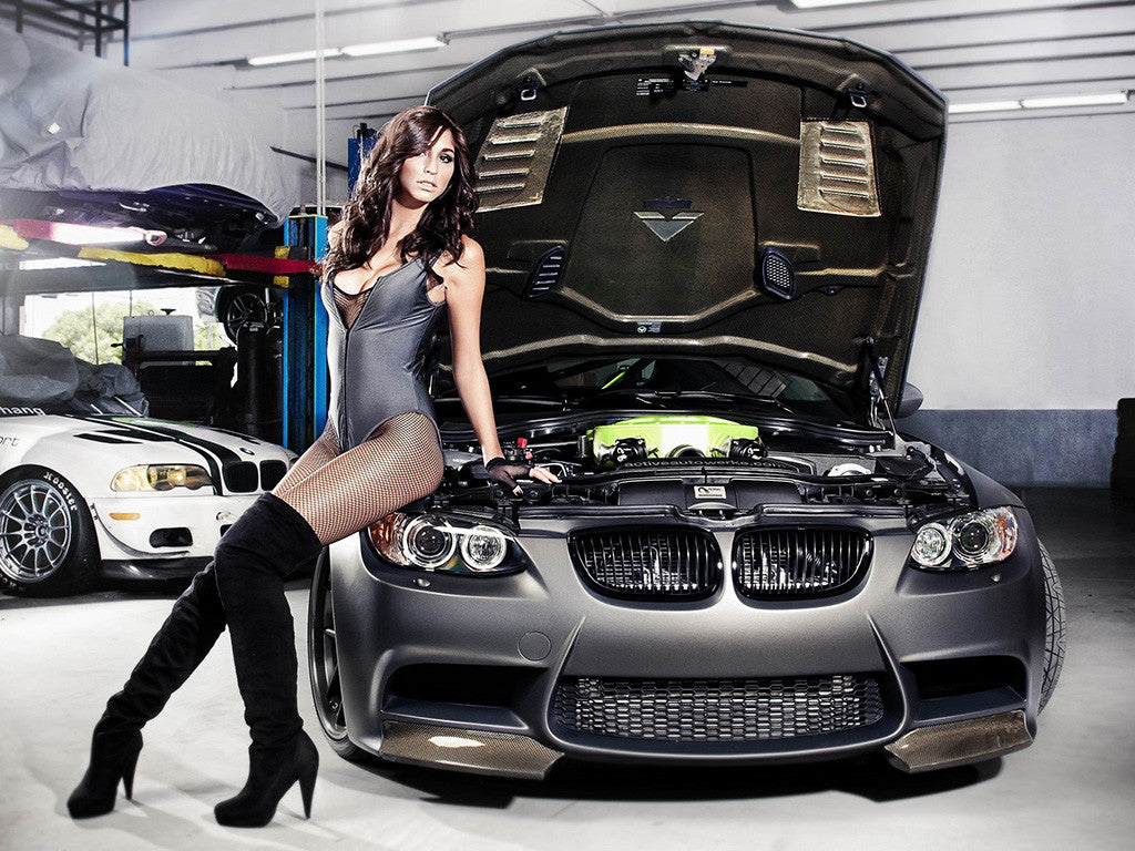 BMW M series car with Brunette Girl Poster