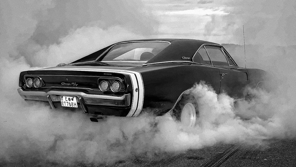 Dodge Charger RT R/T Super Muscle car Tires Smoke B/W Poster