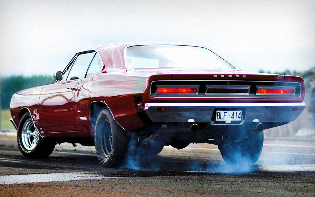 Dodge Charger RT R/T Smoke Auto Vintage Retro Red Car Poster