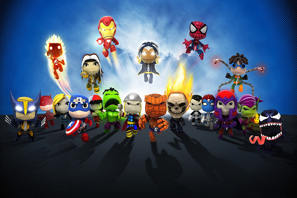 Little Big Planet Hulk Captain America Iron Man Comics Poster