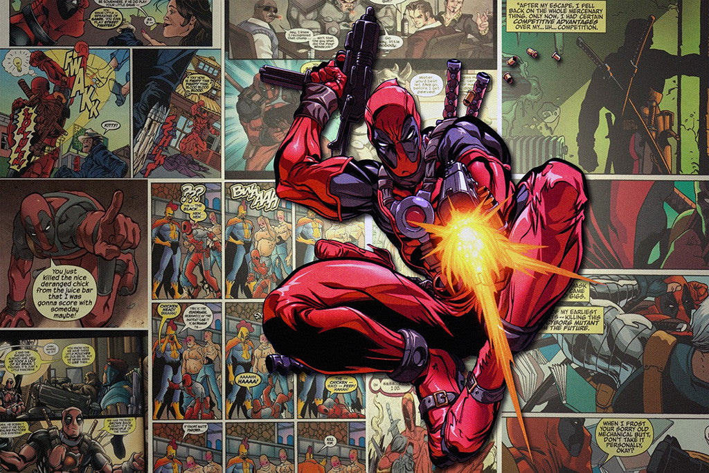 Deadpool Guns Fire Comics Poster