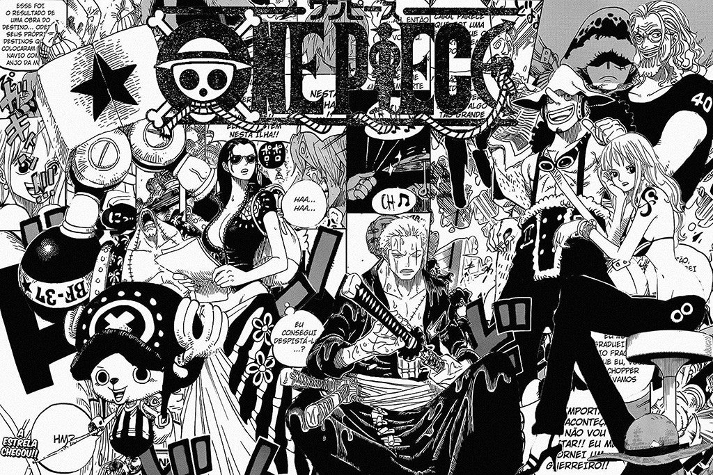 One Piece Anime B/W Comics Poster