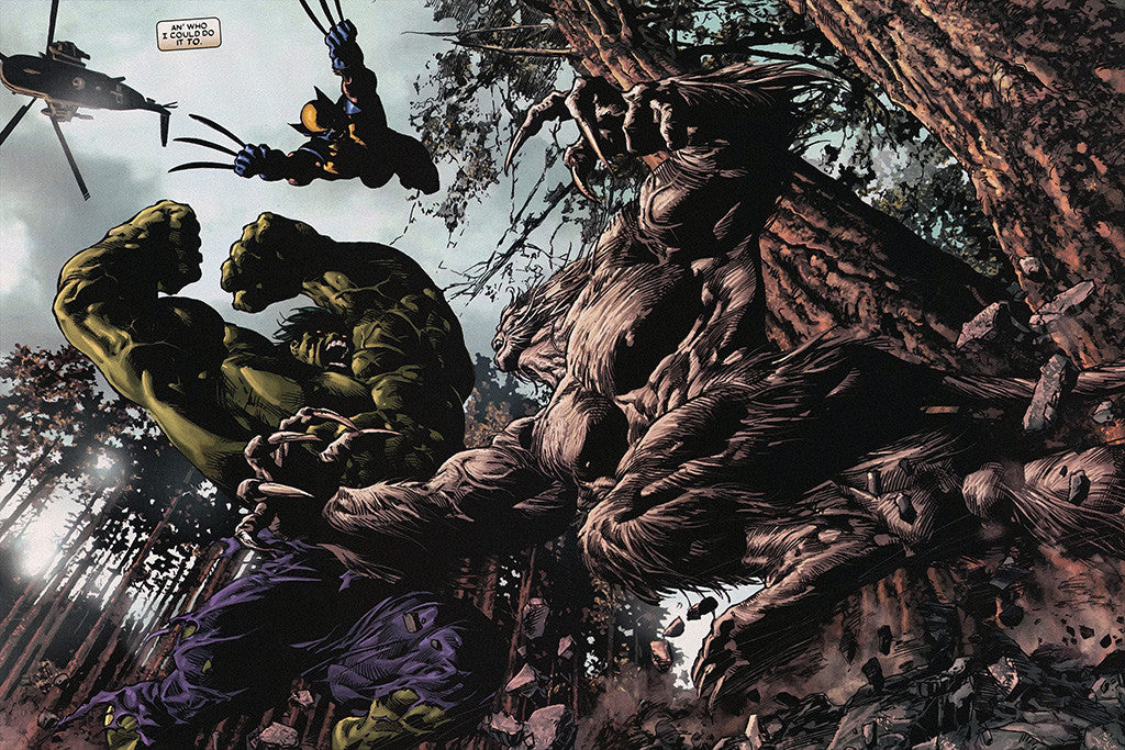 Wolverine Hulk Battle Comics Poster