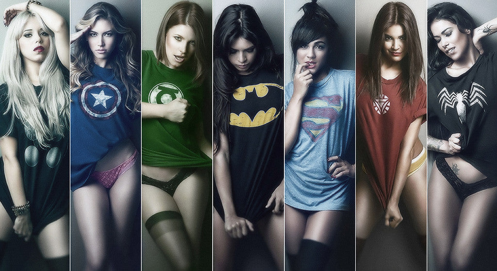 Hot Girls Batman Iron Man Green Lantern Comics Poster