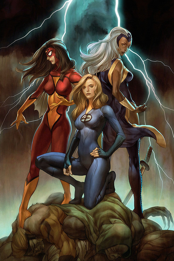 Hot Girls Superheroes Comics Poster