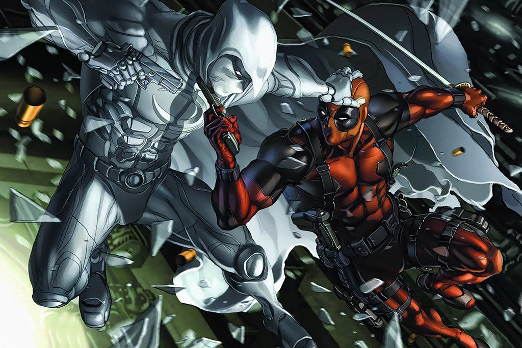 Deadpool Fighting Comics Poster