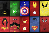 Superheroes Signs Comics Poster