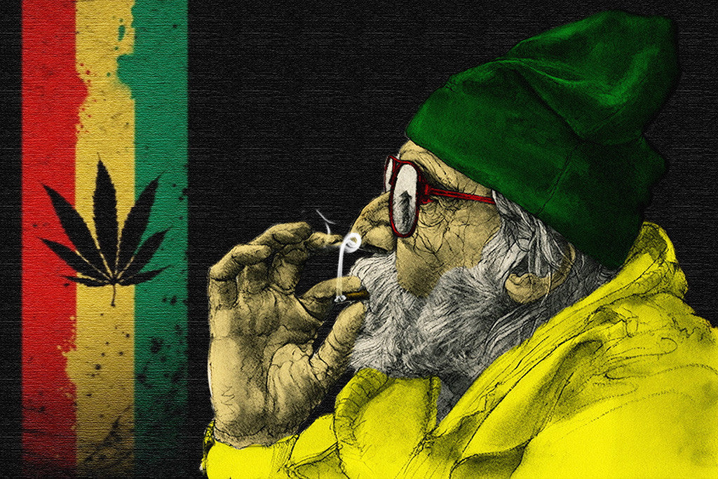 Flag Of Jamaica Marijuana Smoking Poster