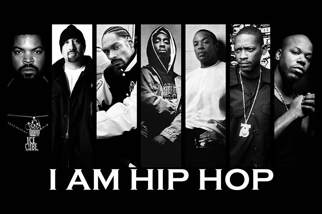 Hip Hop Rap Ice Cube Snoop Dogg Tupac Shakur Dr Dre Black-White Poster