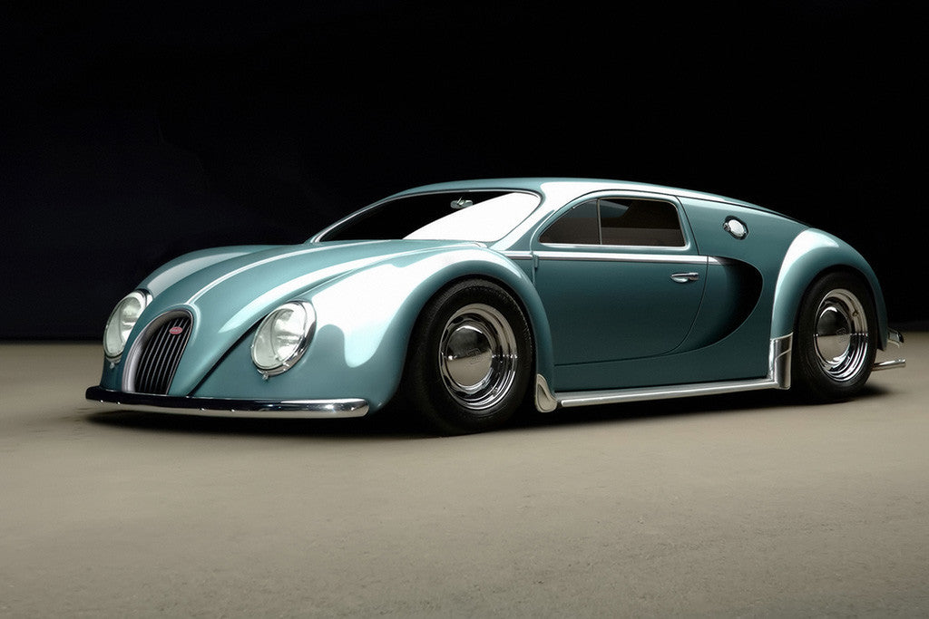 bugatti veyron 1945 old retro car poster my hot posters. Black Bedroom Furniture Sets. Home Design Ideas