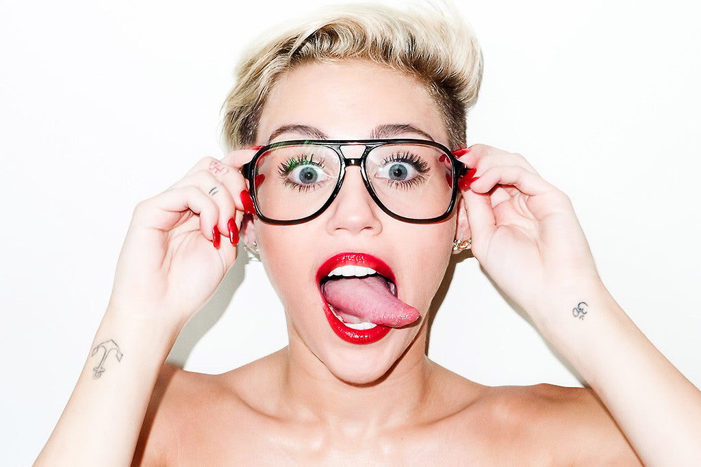 Miley Cyrus Glasses Nerd Tongue Tattoos Funny Fun Poster