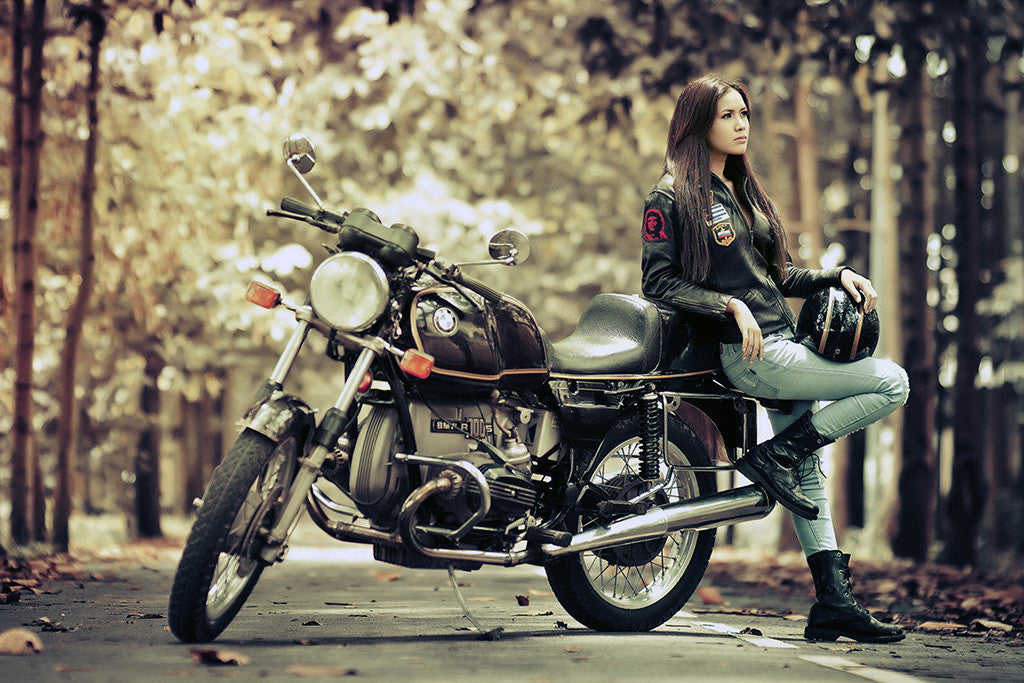 BMW R100S Motorcycle Hot Girl Poster