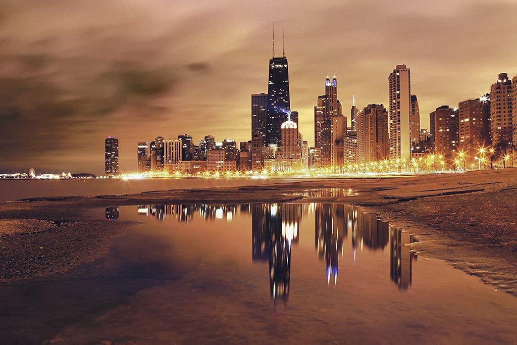 Chicago Night Cityscape Poster