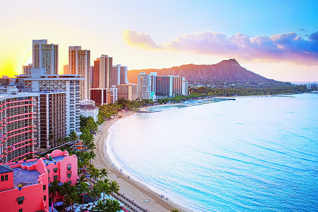 Waikiki Beach Sea Hawaii Cityscape Poster