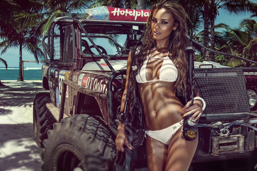 Hot Girl Miss Tuning Jeep Car Poster