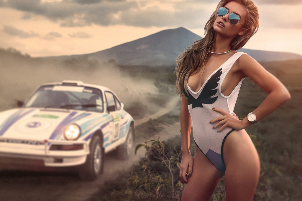 Hot Girl Miss Tuning Porche 911 Old Car Poster