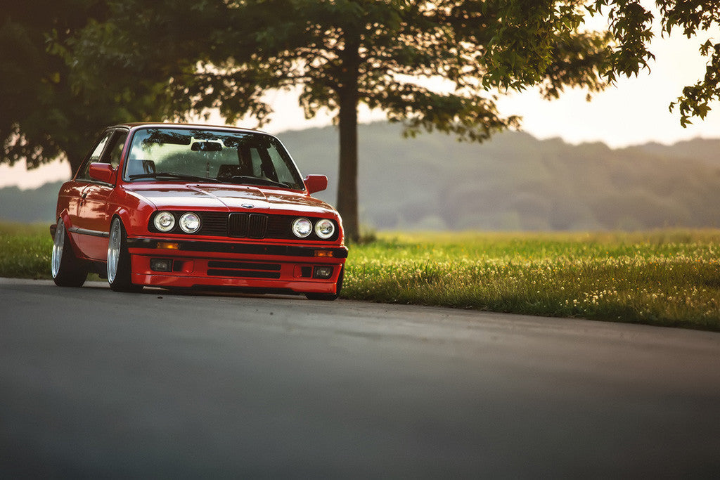 BMW 3 Series E30 Tuning Red Car Poster