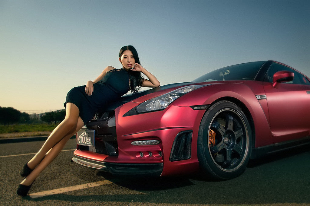 asian korean hot girl nissan gt-r red car poster – my hot posters