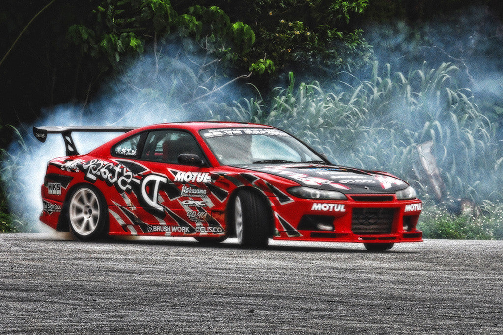 Nissan Silvia S15 Drifting Tuning Red Car Poster