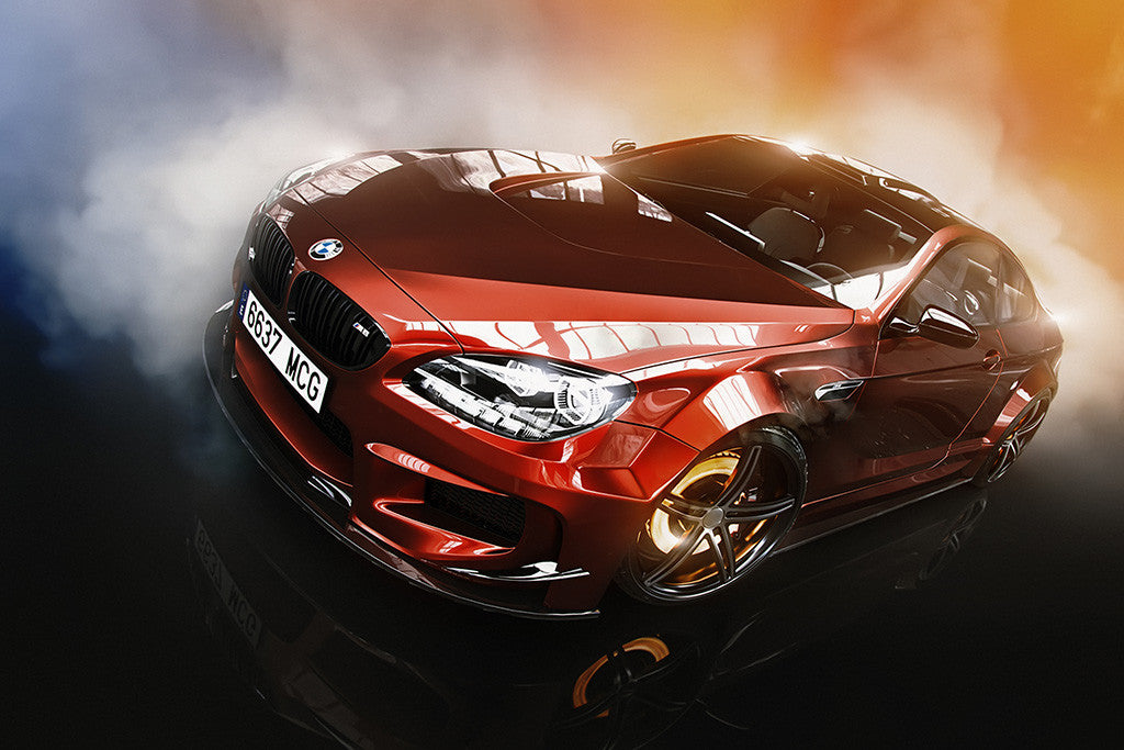 BMW M6 Red Car Brake Smoke Poster