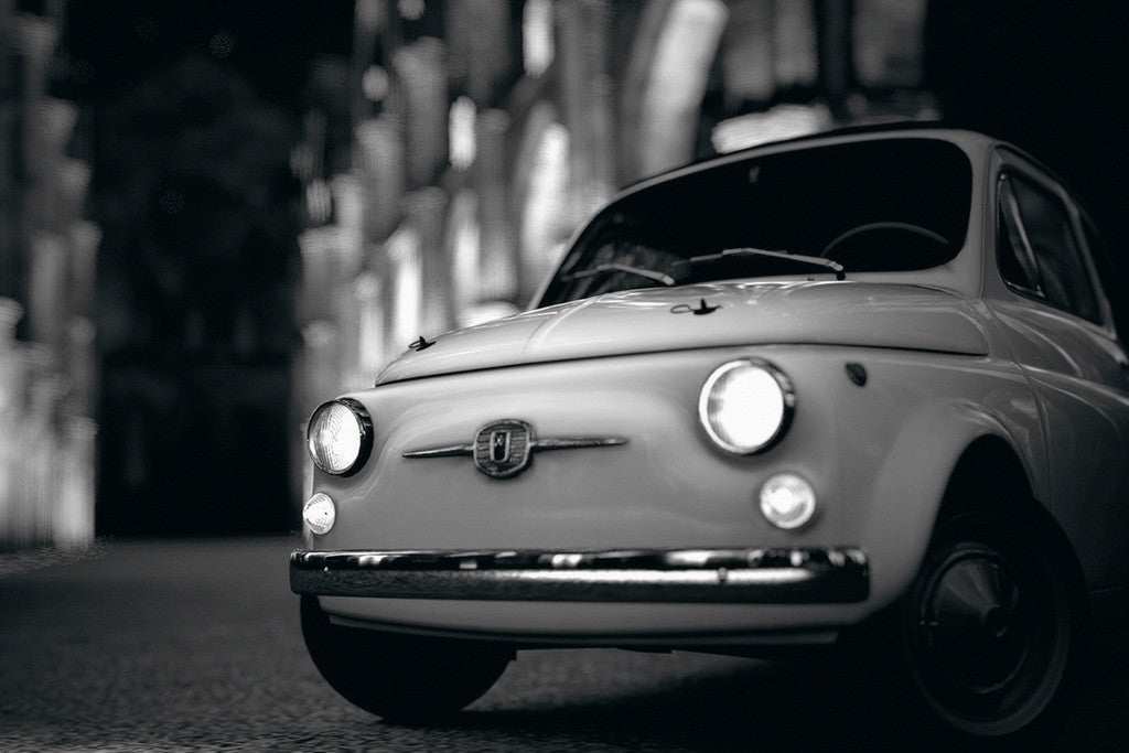 Fiat Retro Car Black and White Poster