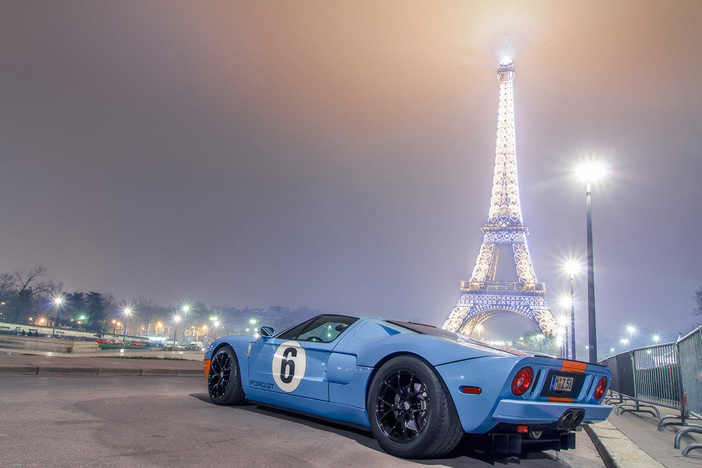Ford GT40 Blue Night Eiffel Tower Car Poster