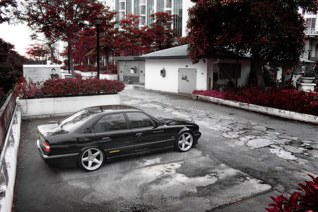 BMW E34 5 Series Black Poster