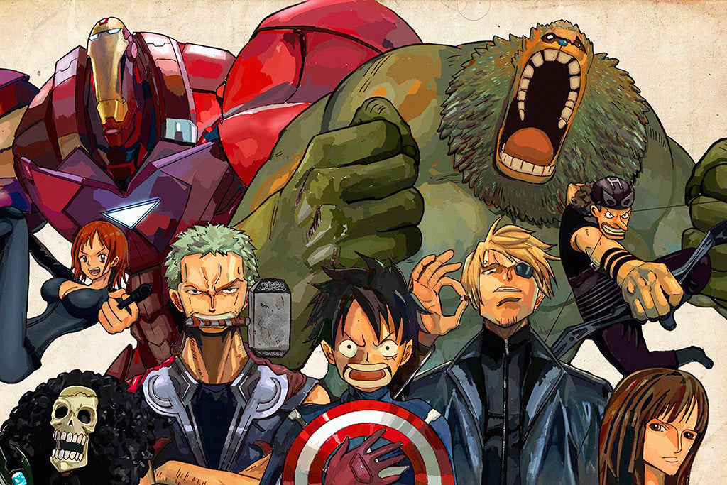 One Piece Avengers Anime Poster