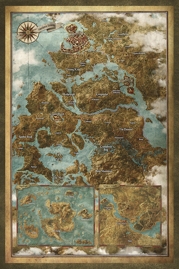 The Witcher 3 Wild Hunt Map Map Poster – My Hot Posters
