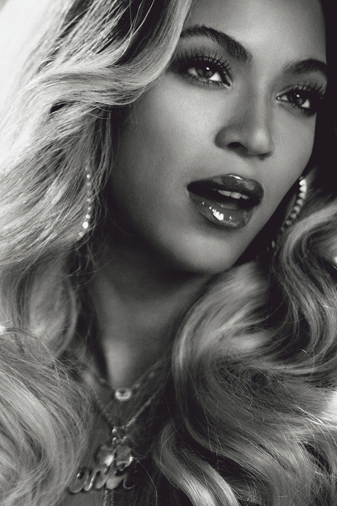 Beyonce Face Black and White Poster