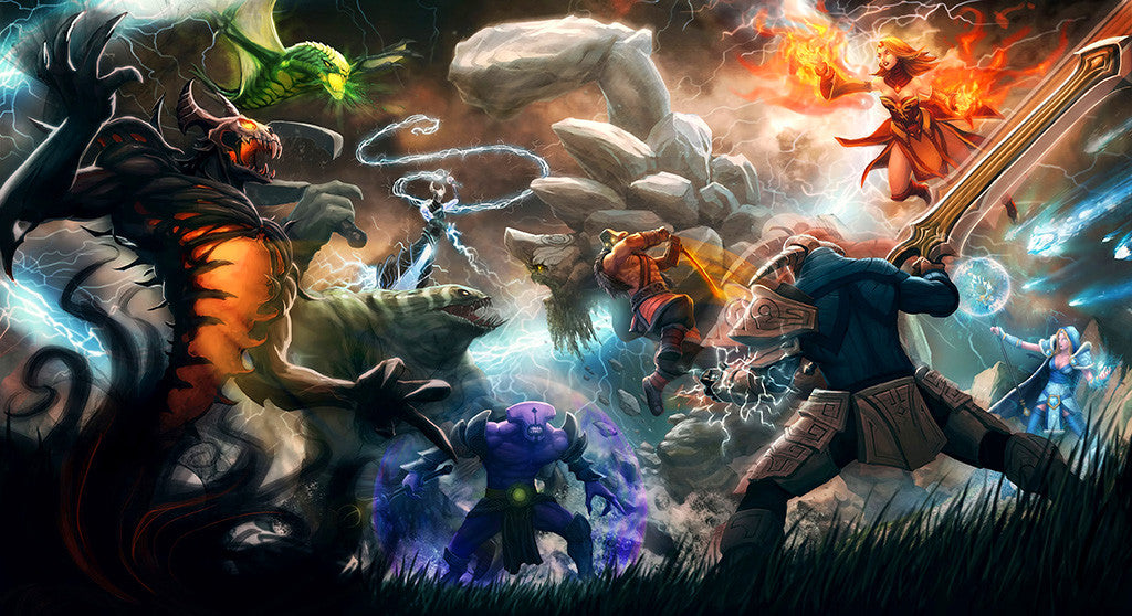 Dota2 WarCraft Heroes Battle Poster