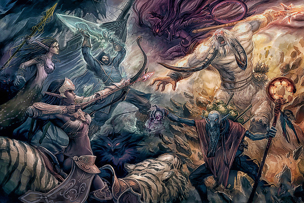 Defense of the Ancients Dota 2 Characters Heroes Fight Art Poster