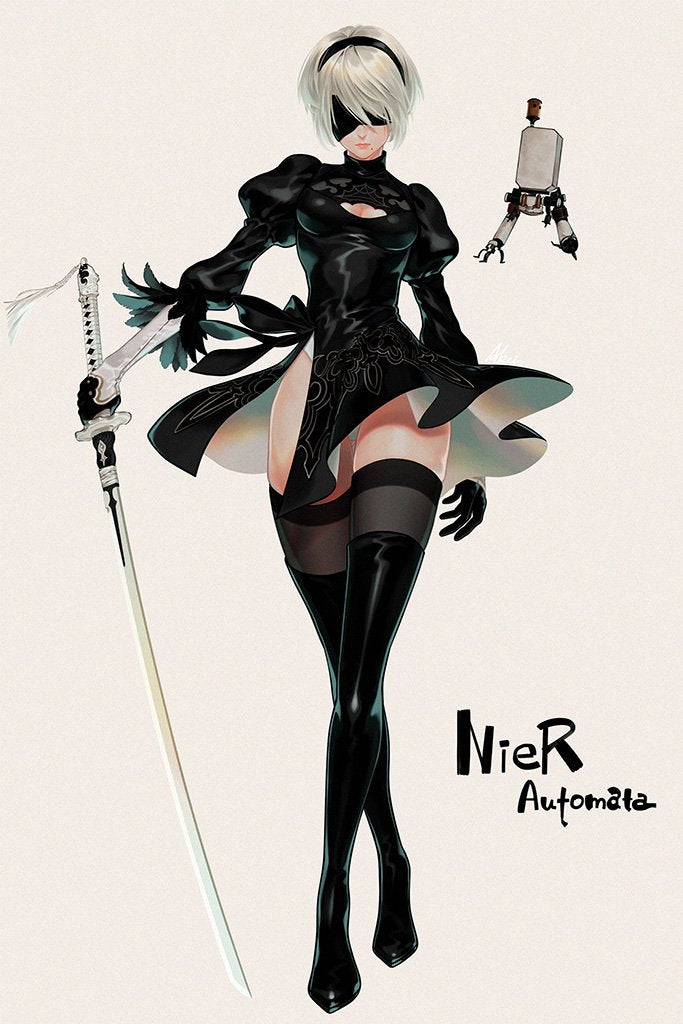 Nier Automata Hot Girl Poster