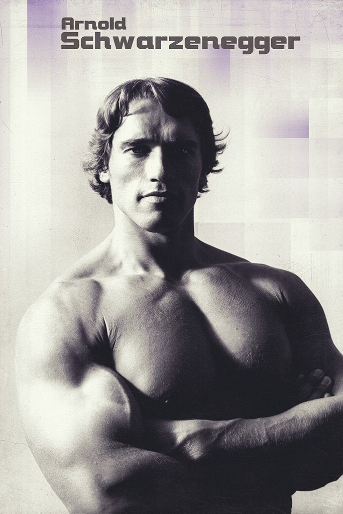 Arnold Schwarzenegger Young Black and White Poster