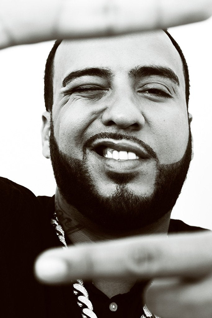 French Montana Black and White Close Up Poster